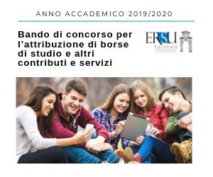 Bando di concorso per l'anno accademico 2019_2020 per l'attribuzione di borse di studio e altri contributi e servizi