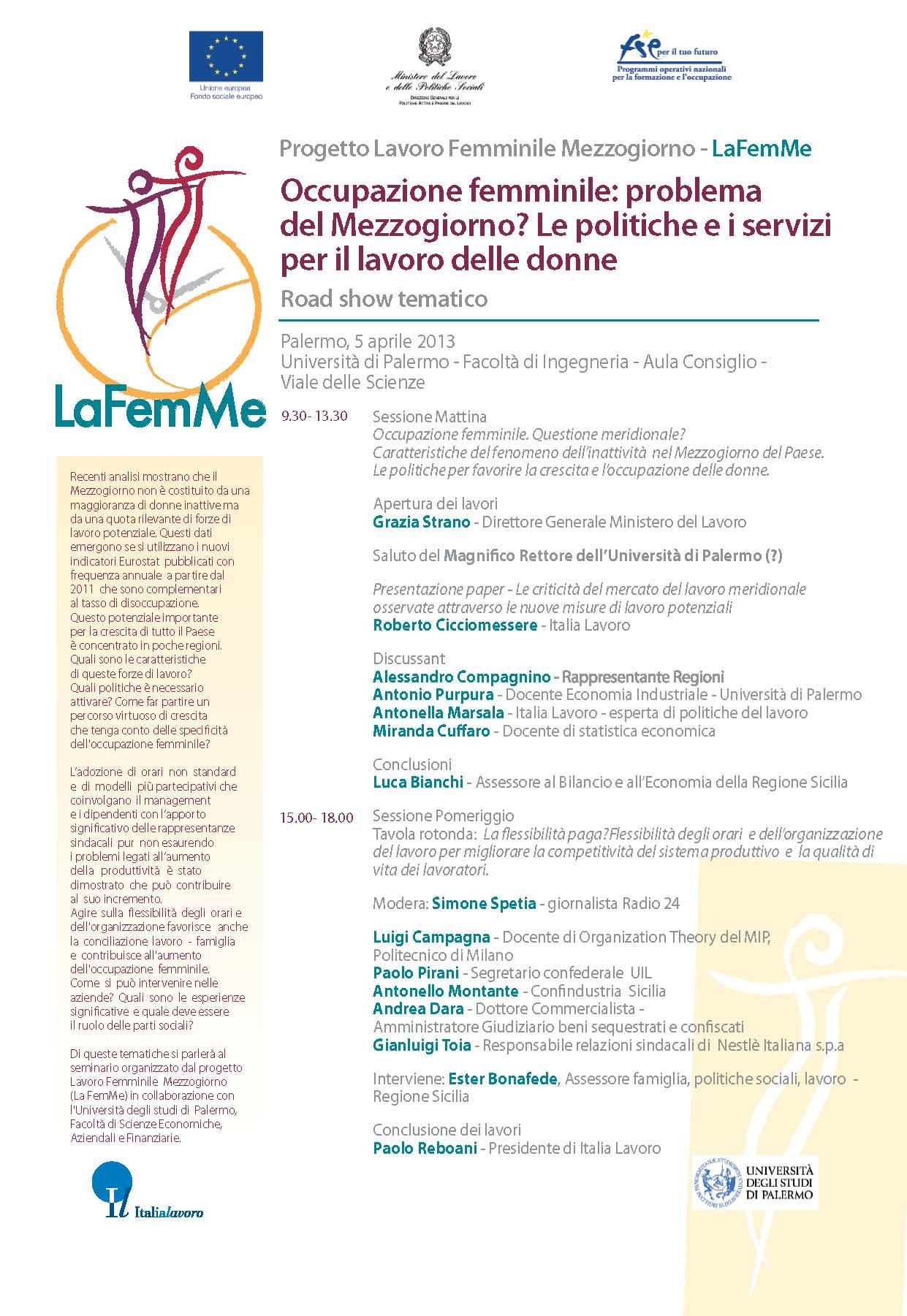 Progetto Lavoro Femminile Mezzogiorno – LaFemMe