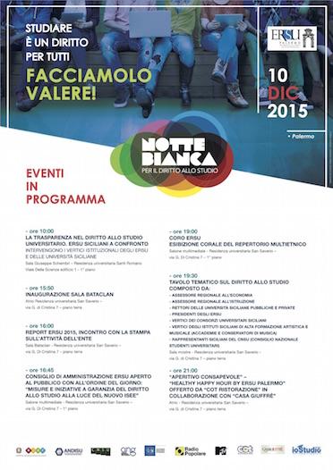 """Università: Giorno 10 dicembre, in tutta Italia, la """"Notte bianca per il diritto allo studio universitario"""". Le iniziative a Palermo."""
