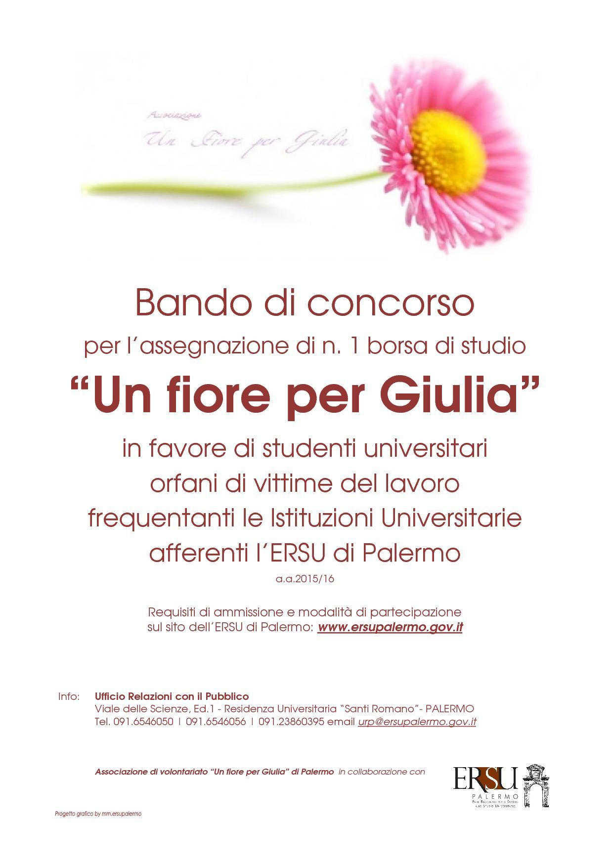 """Bando di concorso per l'assegnazione di n. 1 borsa di studio """"Un fiore per Giulia"""" in favore di studenti orfani di vittime del lavoro"""
