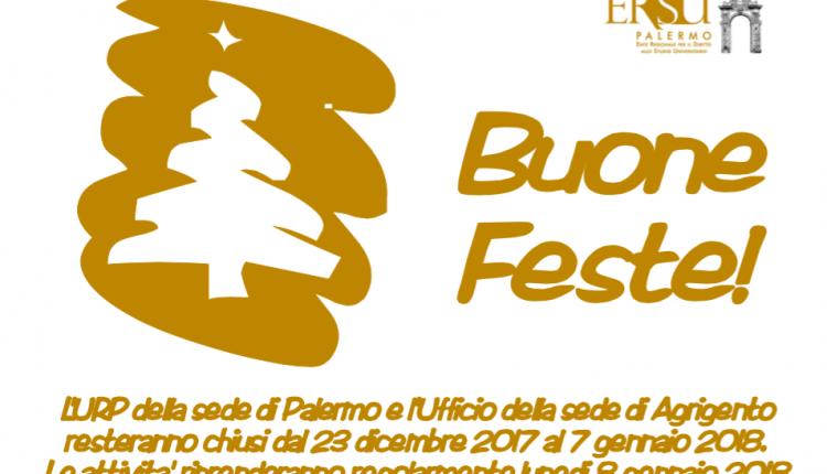 Chiusura URP e Ufficio ERSU di Agrigento per festività natalizie