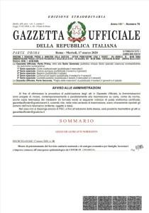 GURI DECRETO LEGGE CURA ITALIA