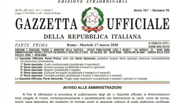 Cura Italia, il Decreto Legge del 17 marzo 2020