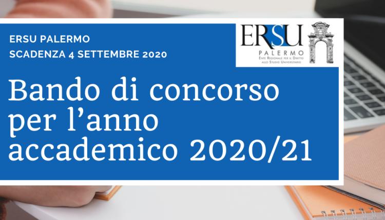 Esonero ERSU durante la procedura di immatricolazione/iscrizione UNIPA a.a. 2020/21
