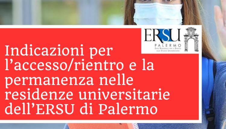 Indicazioni per l'accesso/rientro e la permanenza nelle residenze universitarie dell'ERSU di Palermo
