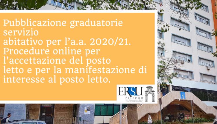 Pubblicazione graduatorie servizio abitativo per l'a.a. 2020/21. Procedure online per l'accettazione del posto letto e per la manifestazione di interesse al posto letto.
