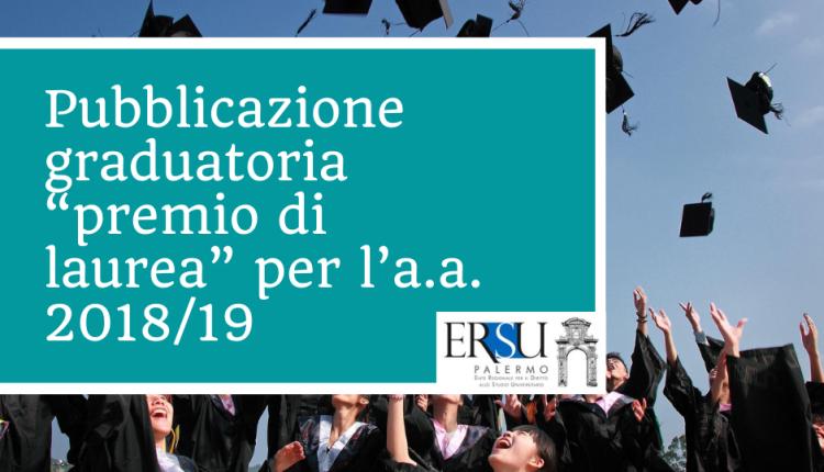 "Pubblicazione graduatoria ""premio di laurea"" per l'a.a. 2018/19"