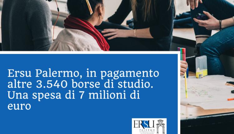 Ersu Palermo, in pagamento altre 3.540 borse di studio. Una spesa di 7 milioni di euro