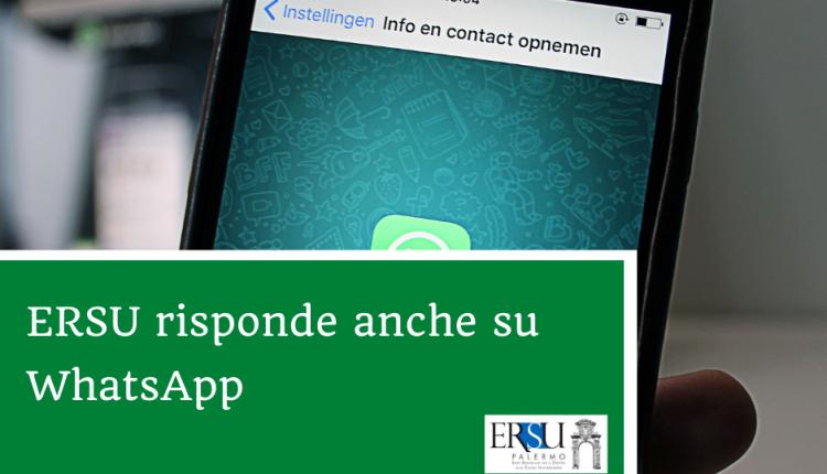 ERSU risponde anche su WhatsApp